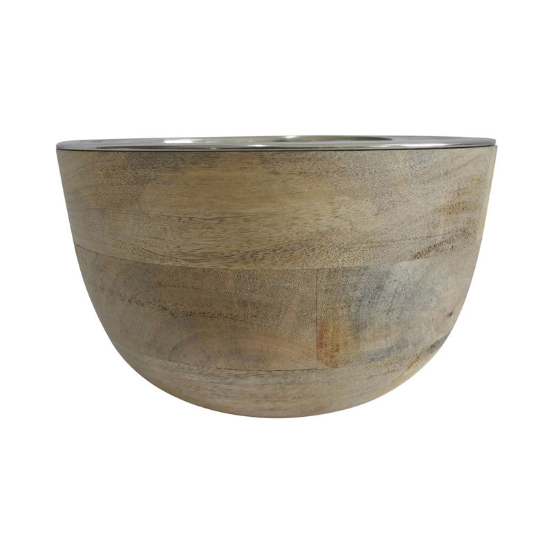 Timber Bowl with Stainless Steel Insert 22cm - Bowls - The Bowery