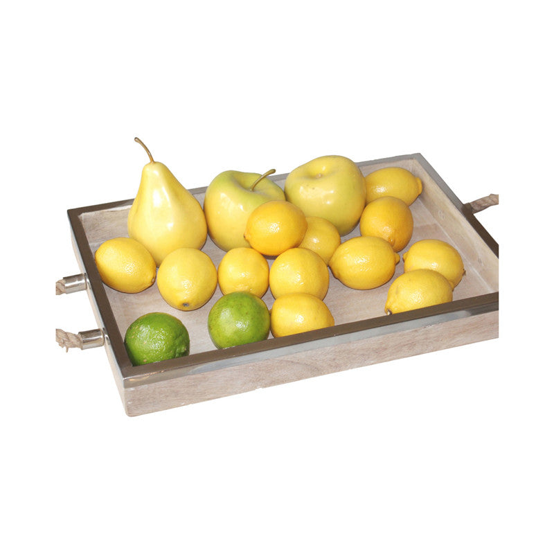 Timber Tray with Stainless Steel Round Rim 46cm x 30cm x 4cm - Tray - The Bowery
