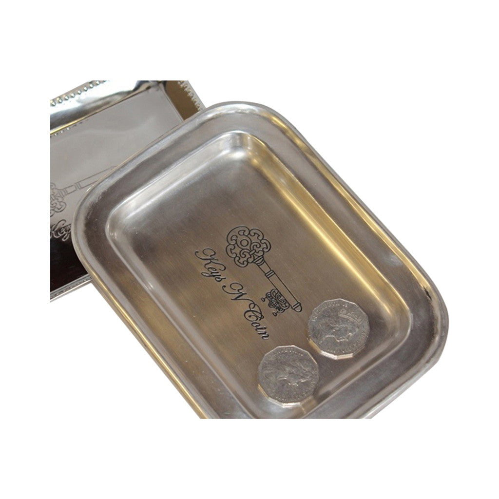 Tray Silver Rectangle Keys and Coins 19cm x 14cm - Tray - The Bowery