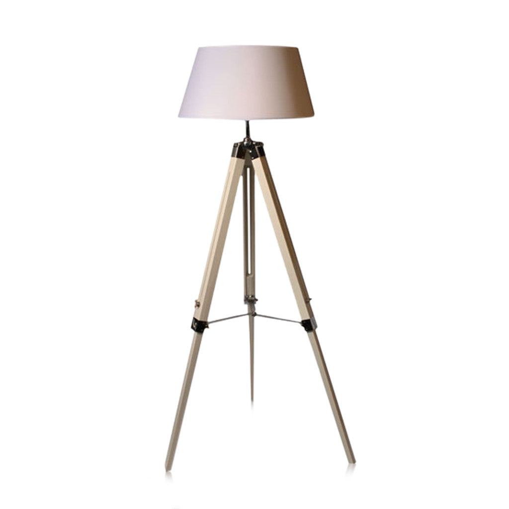 Tripod Floor Lamp Natural With White Linen Shade 144cm - Floor Lamp - The Bowery