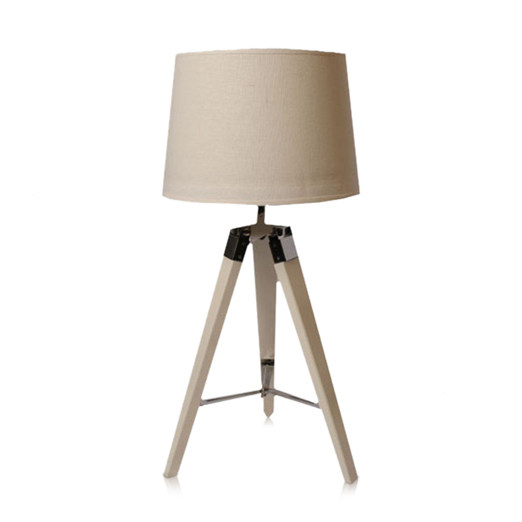 Tripod Table Lamp White With Linen Shade White 65cm - Table Lamp - The Bowery