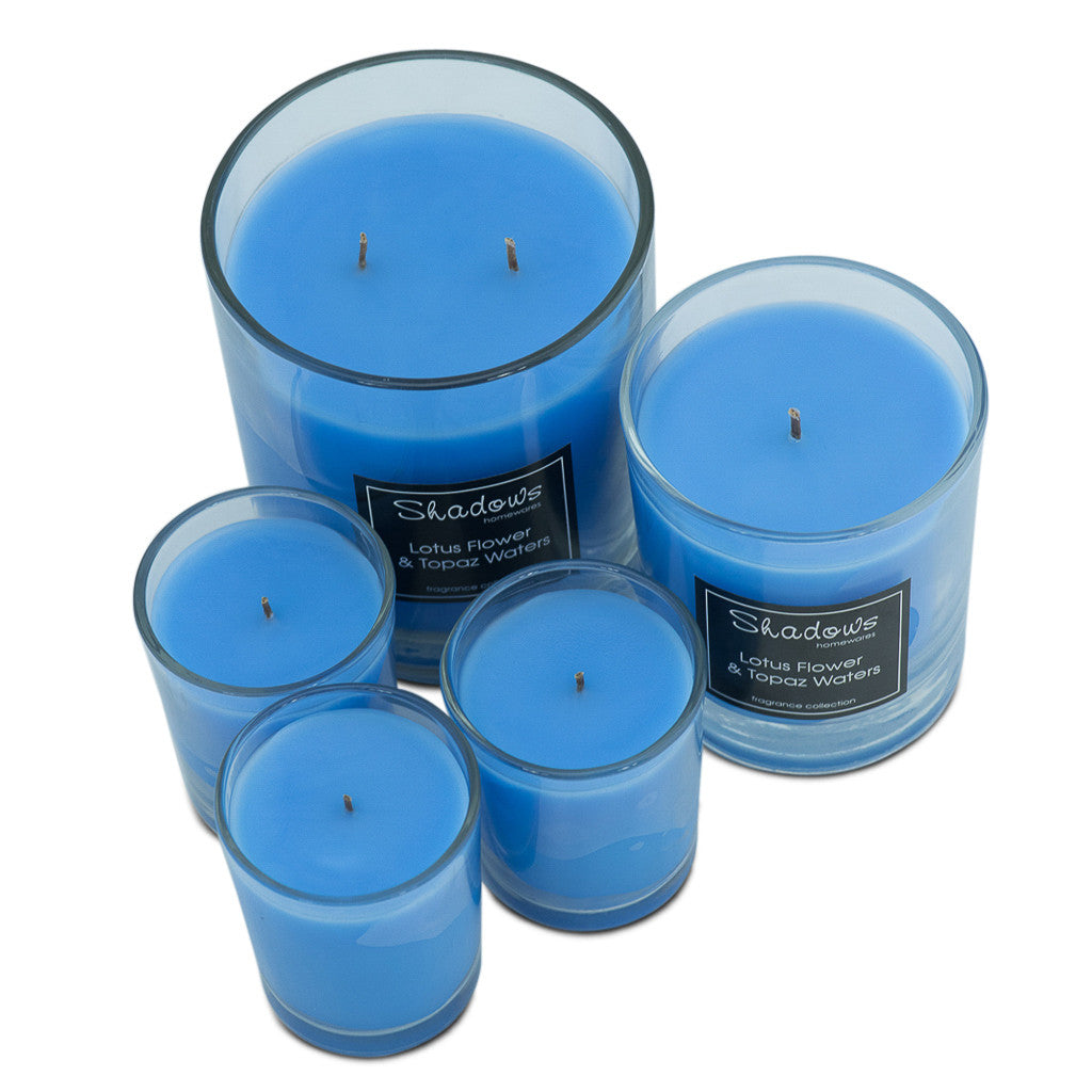 Trio Pack Lotus Flower & Topaz Water Scented Candle - Wax Candles - The Bowery - 5