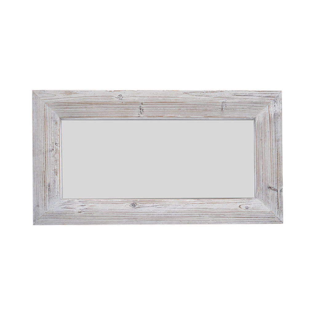 Vintage White Wash Wood Rectangle Mirror, 72cm x 44cm - Mirror - The Bowery