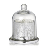 Votive with Dome Antique Silver Glass With Wax 12cm x 9.5cm - Wax Candles - The Bowery