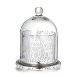 Votive with Dome Antique Silver Glass With Wax H15cm x W11.5cm - Wax Candles - The Bowery
