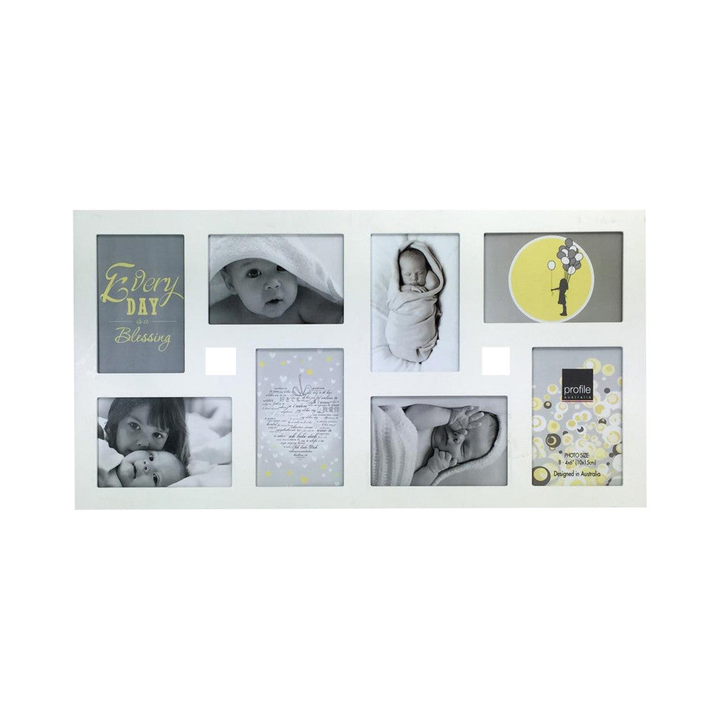 Collage Photo Frame - White Multi , 4 cm x 15 cm - Set of 8 - Photo Frame - The Bowery