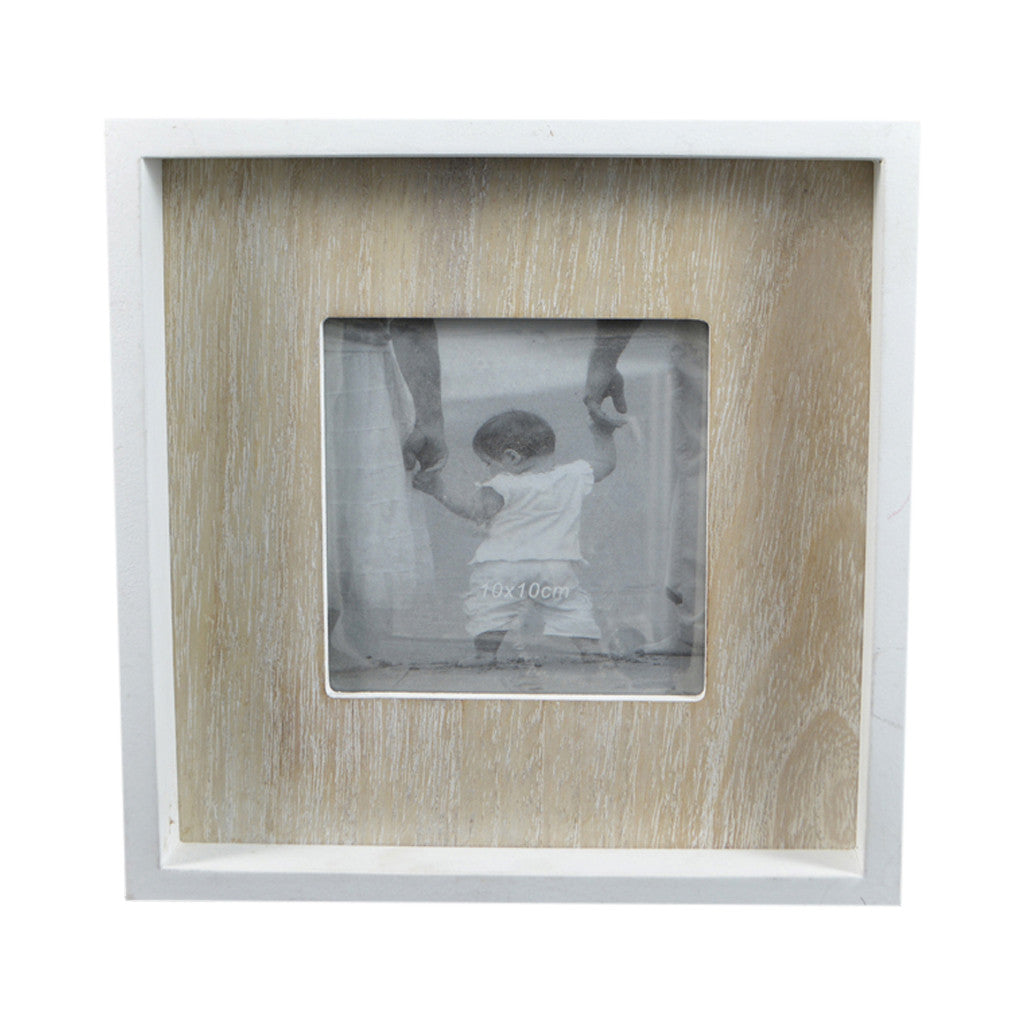 White/Natural MDF Box Photo Frame, 18cm x 18cm - Photo Frame - The Bowery