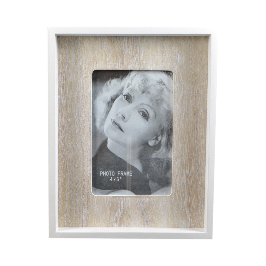 White/Natural MDF Box Photo Frame, 18cm x 23cm - Photo Frame - The Bowery