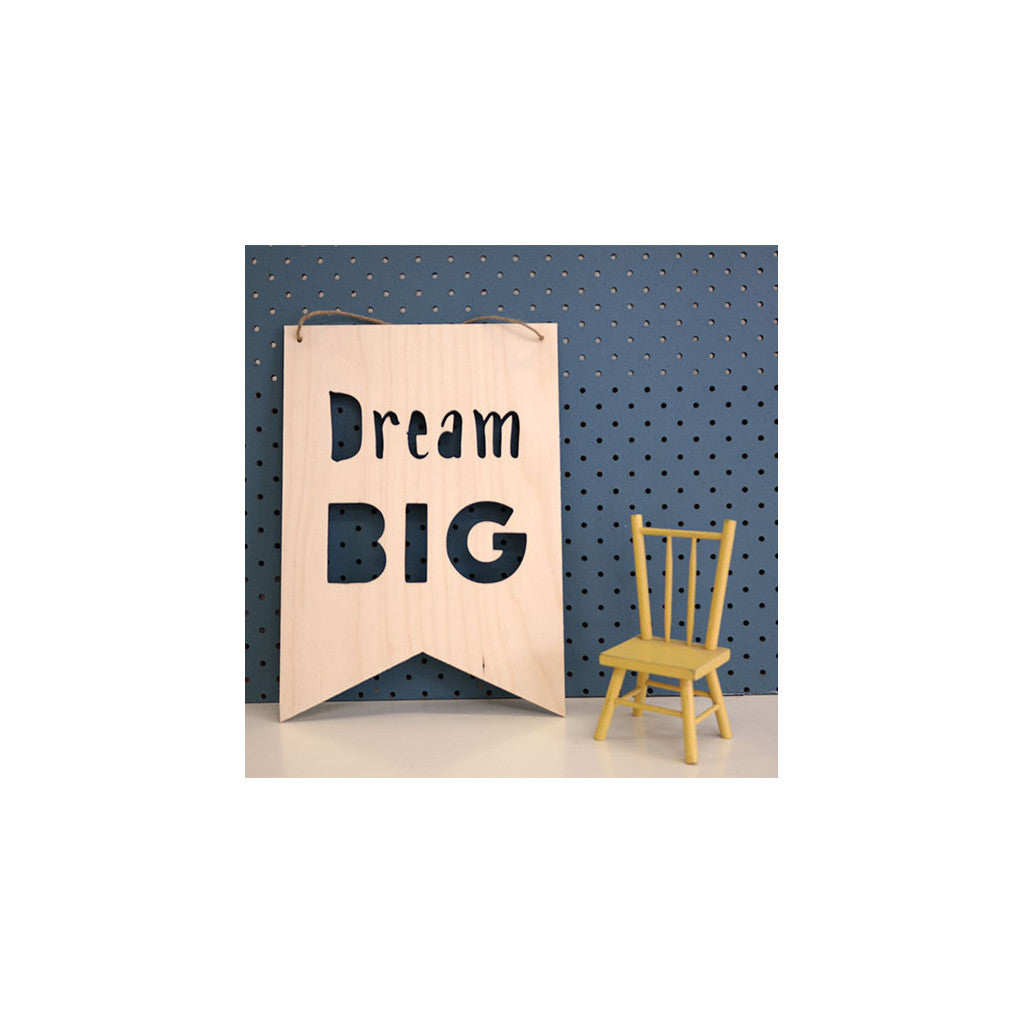 Wooden Plaque 'Dream Big' 30cm x 21cm - Wall Quotes - The Bowery