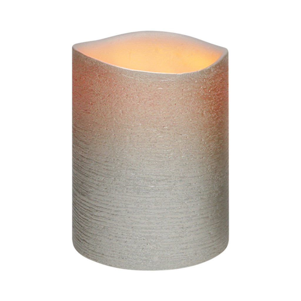 Antique Silver Distressed Textured Wax LED Flameless Candle, 8 x 15 cm - Flameless Candle - The Bowery - 2