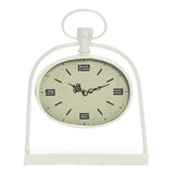 Bassett White Metal Oval Table Clock - Table Clocks - The Bowery - 1