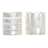 Bindi White Stripe Resin Tea Light, Set of 2 - Votive Holder - The Bowery
