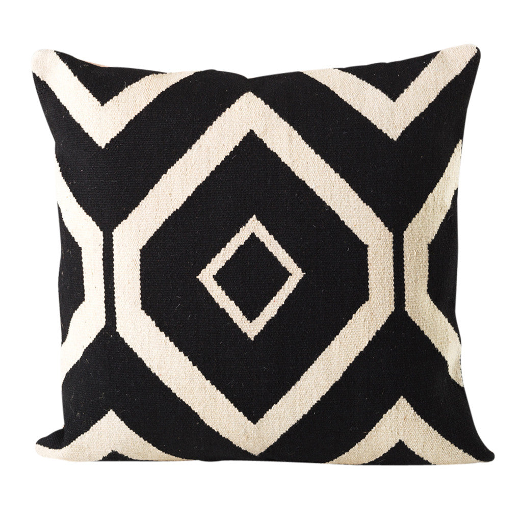 Black & White Geometric Cushion, 50 cm sq - Cushion - The Bowery