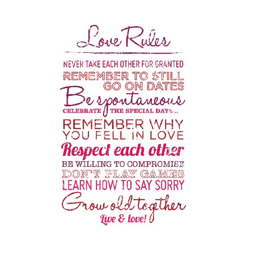 Canvas Print 'Love Rules' 40cm x 60cm - Canvas Prints - The Bowery