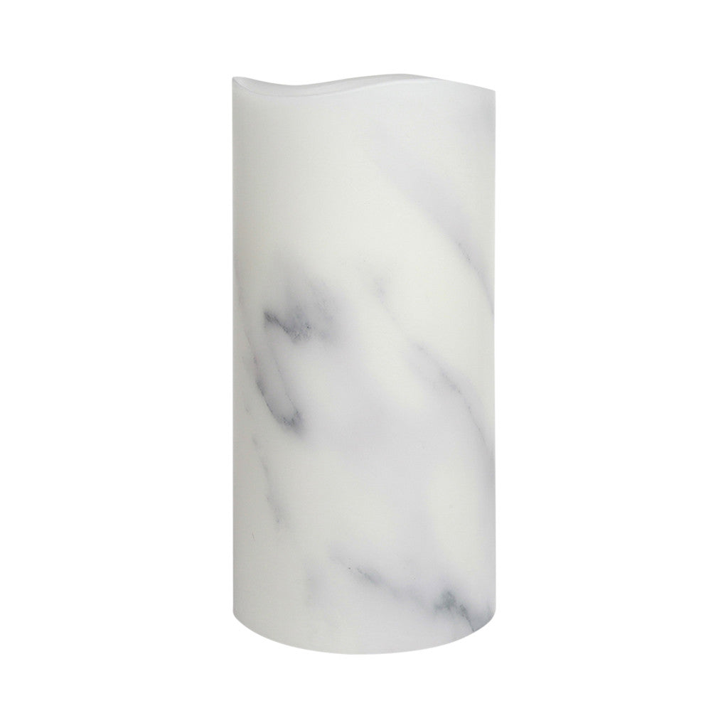 Carrara Marble Smooth Wax LED Flameless Pillar Candle, 10 x 20 cm - Flameless Candle - The Bowery