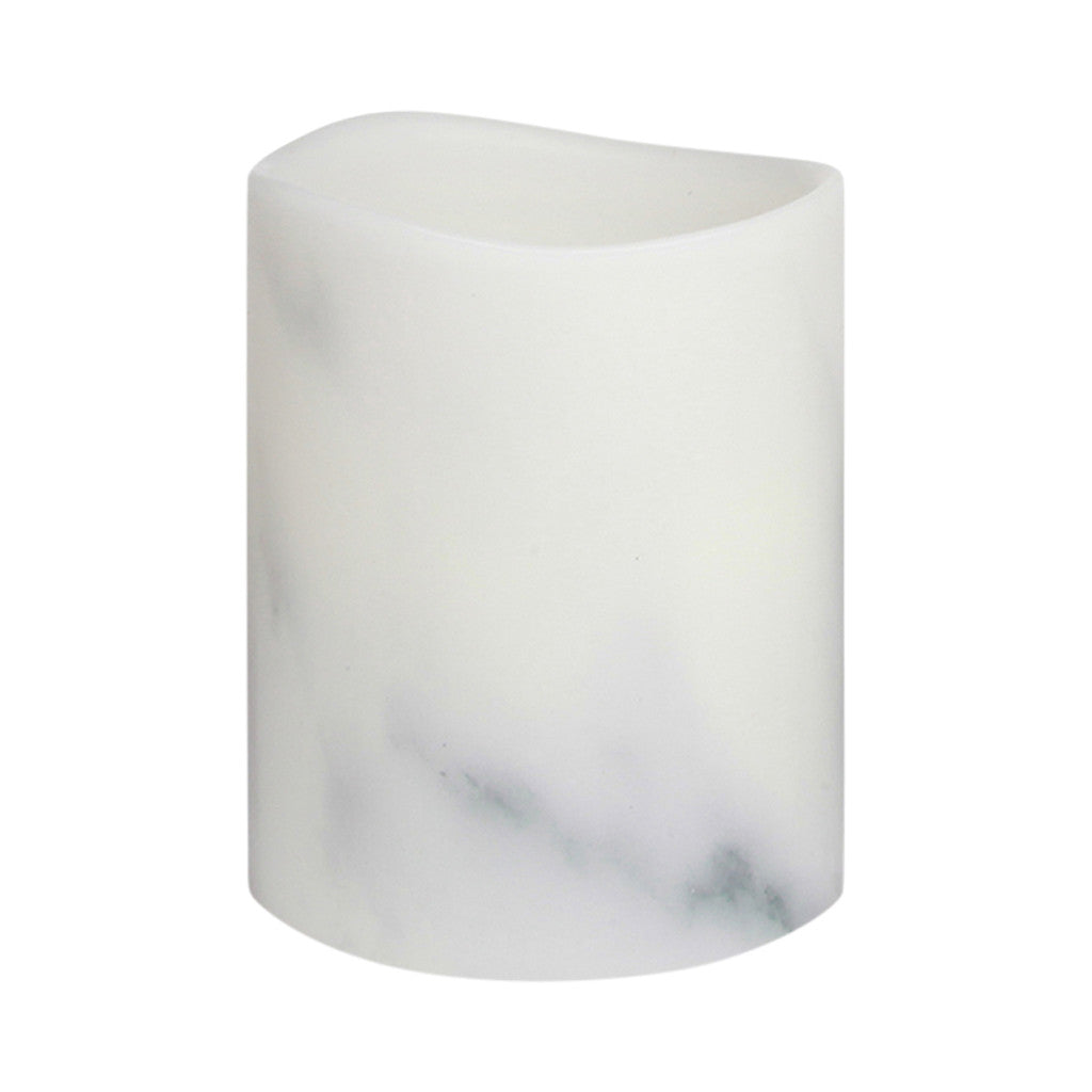 Carrara Marble Smooth Wax LED Flameless Pillar Candle, 8 cm x 10 cm - Flameless Candle - The Bowery