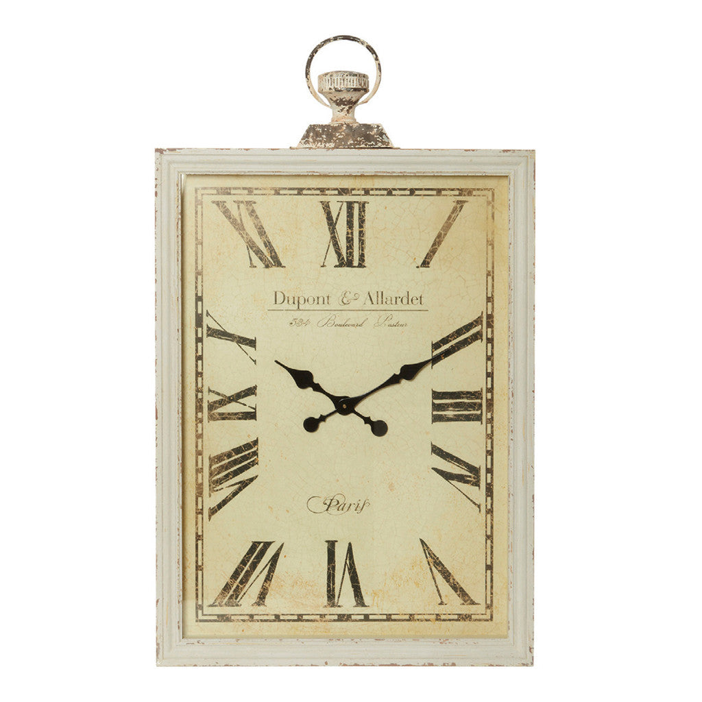 cheval antique cream rectangle dupont wall clock at the bowery - cheval antique cream rectangle dupont wall clock  wall clocks  the bowery
