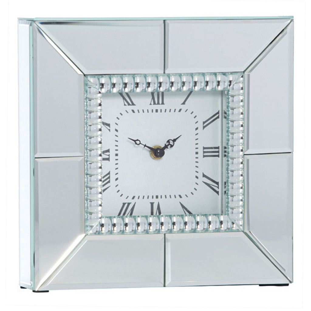 Chriss Mirror Square Table Clock, 25cm - Table Clocks - The Bowery - 1