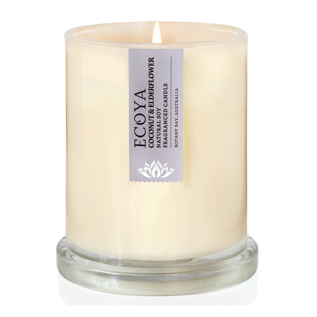 Coconut and Elderflower Scented Soy Wax Candle in Metro Jar, 14 cm - Soy Wax Candles - The Bowery