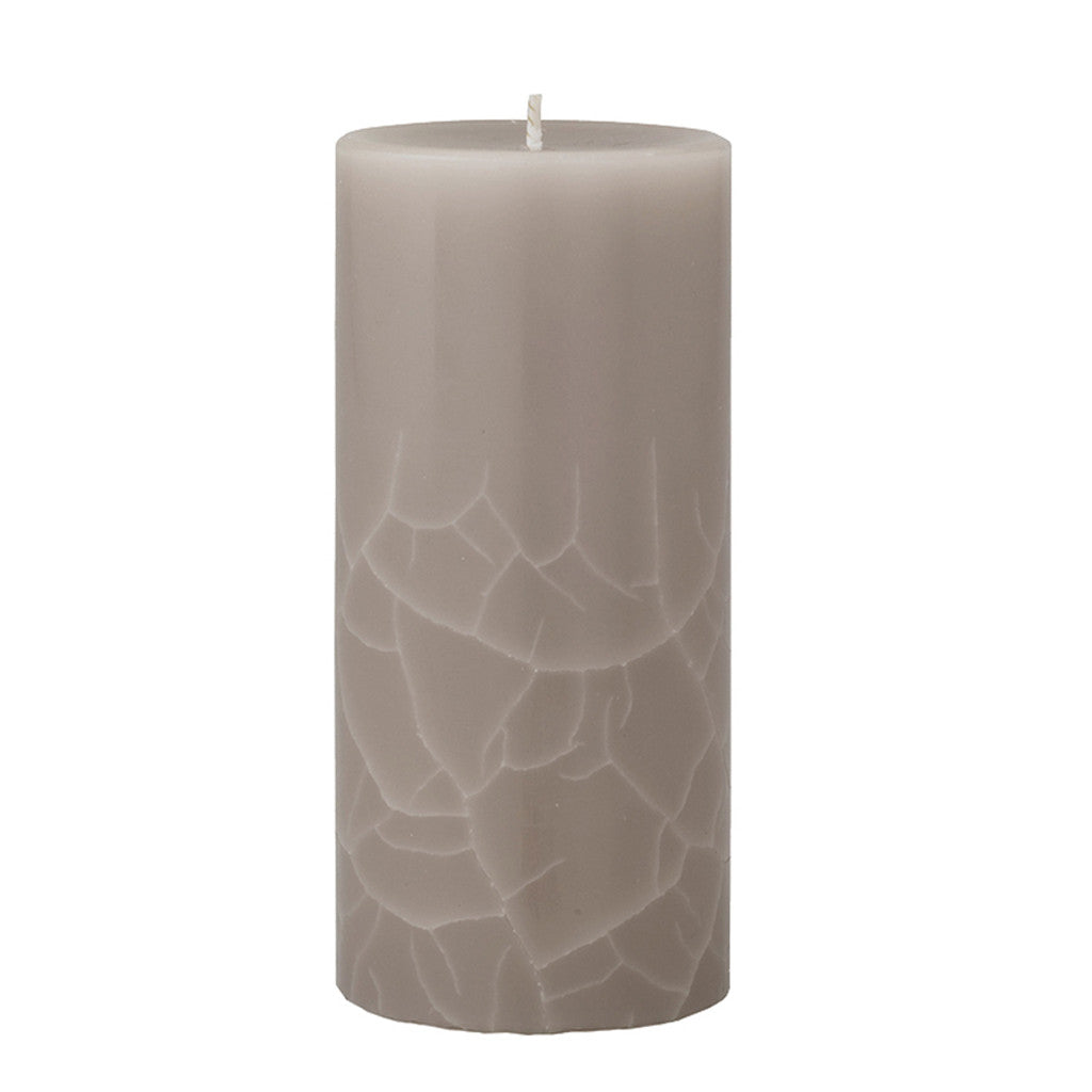 Crackle pillar Creamy Vanilla & Coconut Scented Candle, 15 x 7 cm - Wax Candles - The Bowery