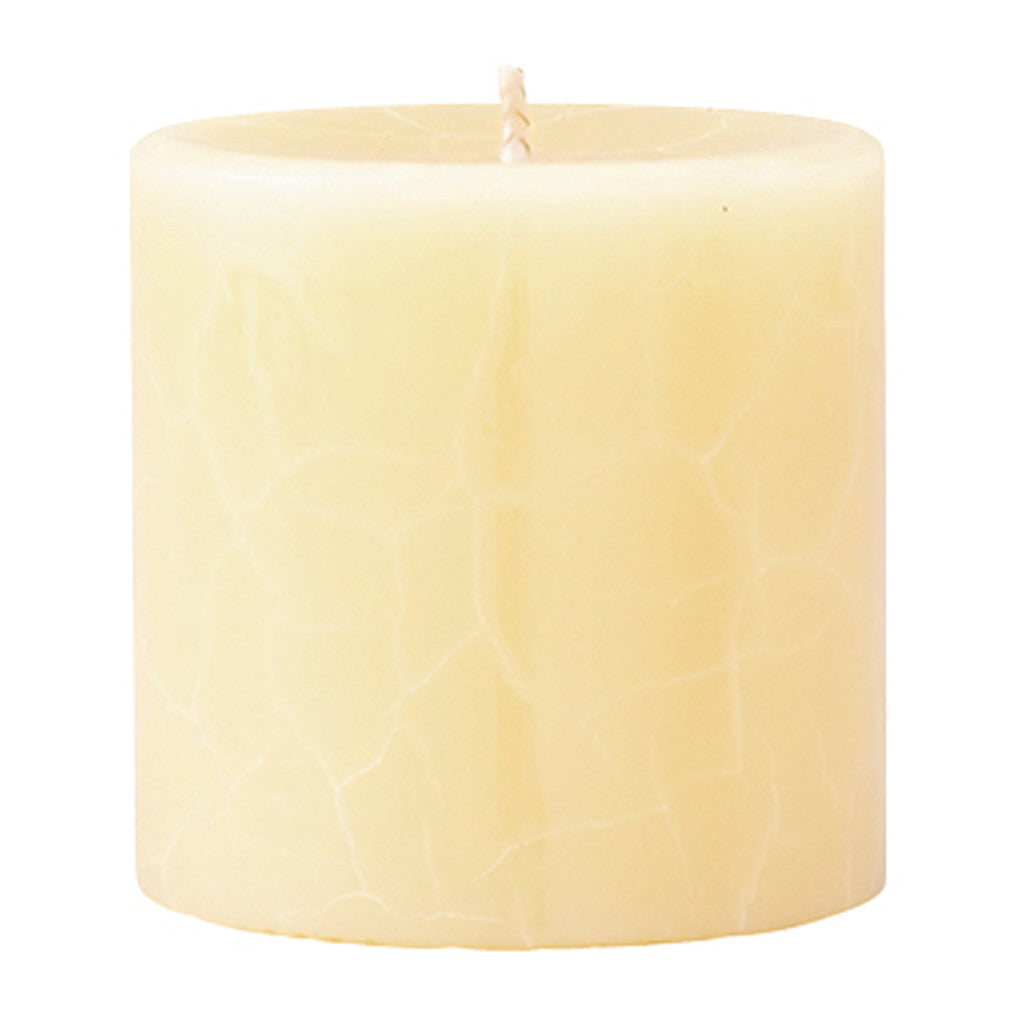 Crackle Pillar French Vanilla & Jasmine Tea Scented Candle, 7cm x 7cm - Wax Candles - The Bowery