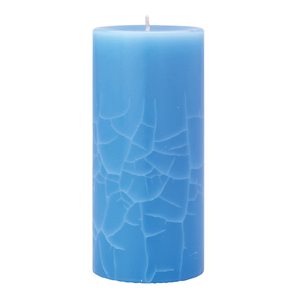 Crackle Pillar Lotus Flower & Topaz Water Scented Candle, 15 x 7 cm - Wax Candles - The Bowery
