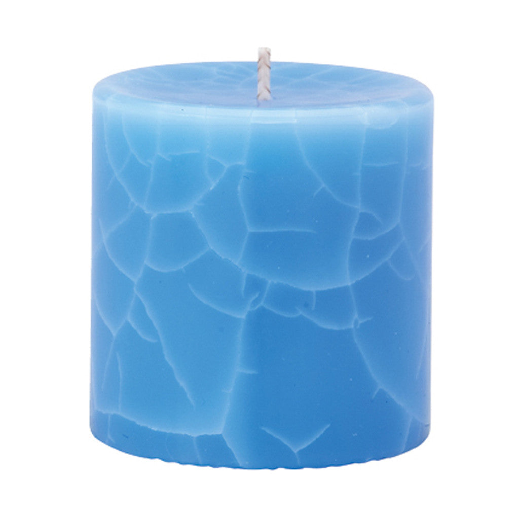 Crackle Pillar Lotus Flower & Topaz Water Scented Candle, 7 x 7 cm - Wax Candles - The Bowery
