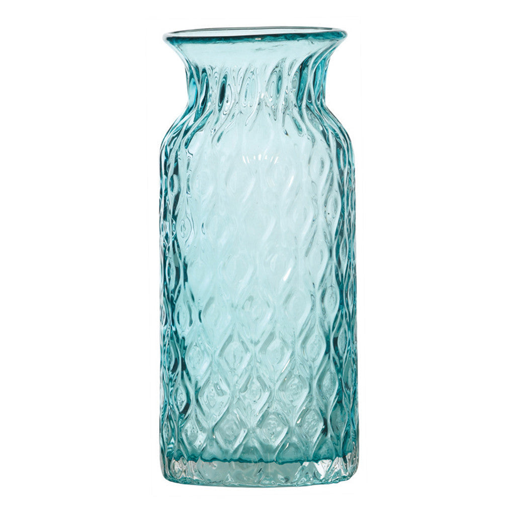 Dwyer Teal Glass Diamond Pattern, 28 cm - Vase - The Bowery