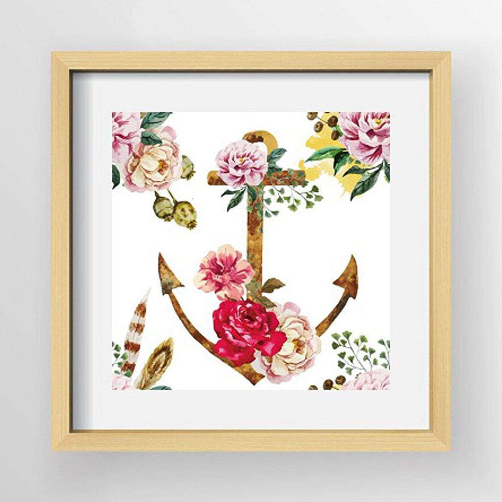 Framed Artwork 'Anchor with Floral Corners' 60cm x 60cm - Framed Prints - The Bowery