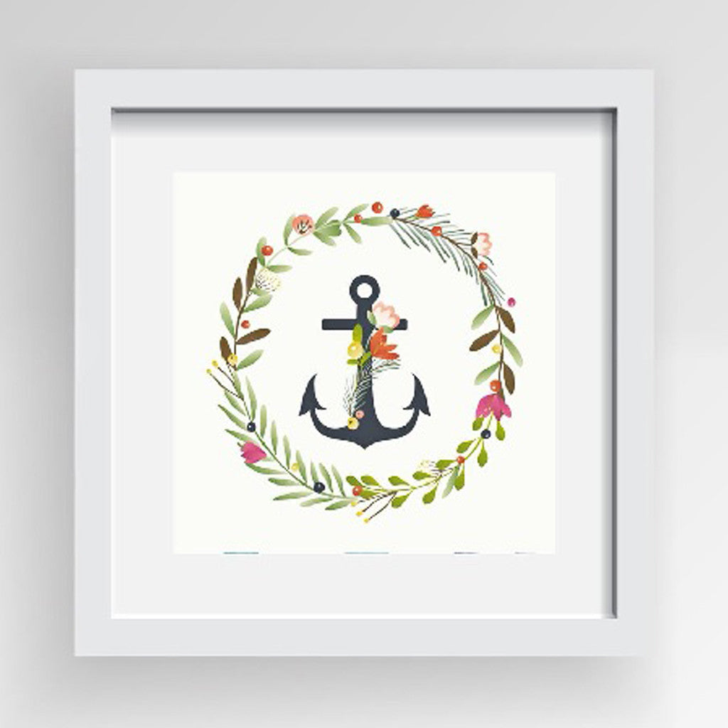 Framed Artwork 'Anchor with Floral Ring' 60cm x 60cm - Framed Prints - The Bowery