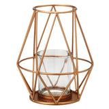 Geometric Archimedes Metal / Glass Tealight Holder, 14cmH x 11.5cmD - Votive Holder - The Bowery - 3