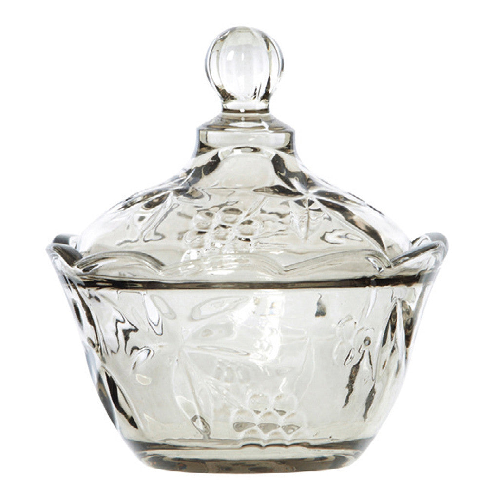 Gilderoy Smoke Glass Lidded Compote - Bowls - The Bowery