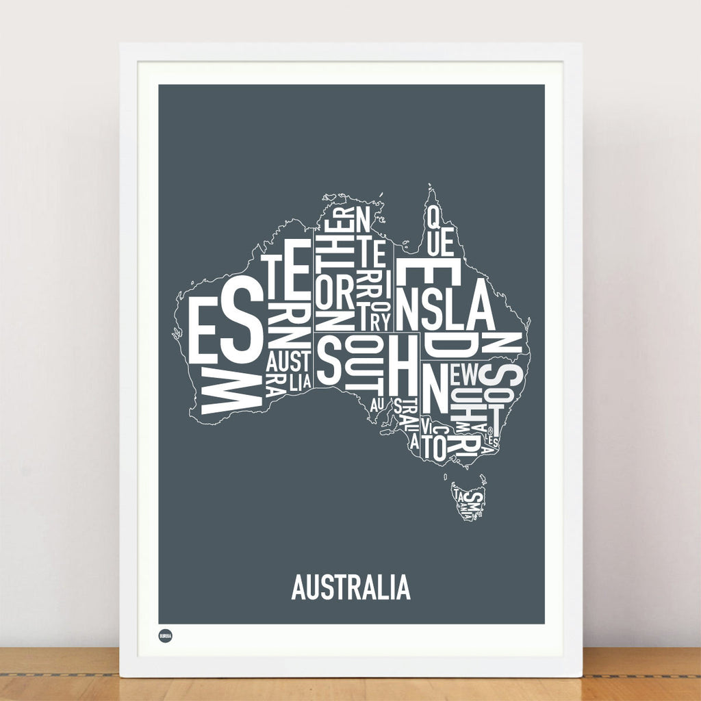 Framed Print, Australia Type Map, Stormy Grey , 30cm x 40cm - Typography Wall Art - The Bowery - 2