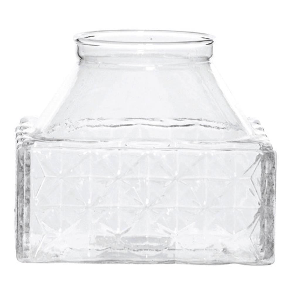 Emerson Glass Lattice Square Vase, 10 cm - Vase - The Bowery