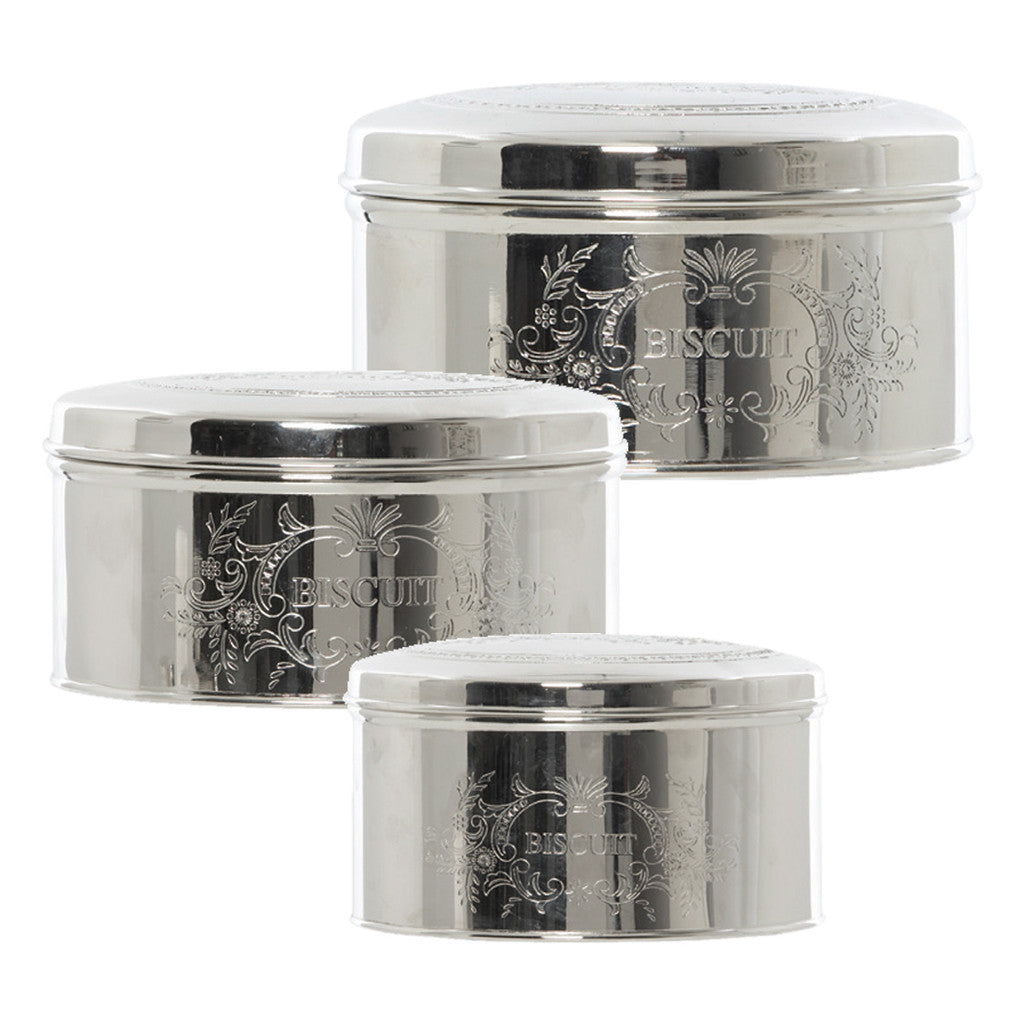 Henri Silver Round Tins, Set Of 3 - Cannisters - The Bowery