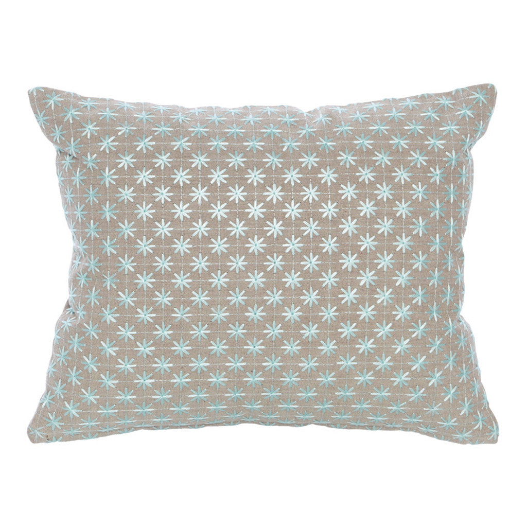 Hydra Natural Cotton Teal Star Rectangle Cushion 45 cm - Cushion - The Bowery
