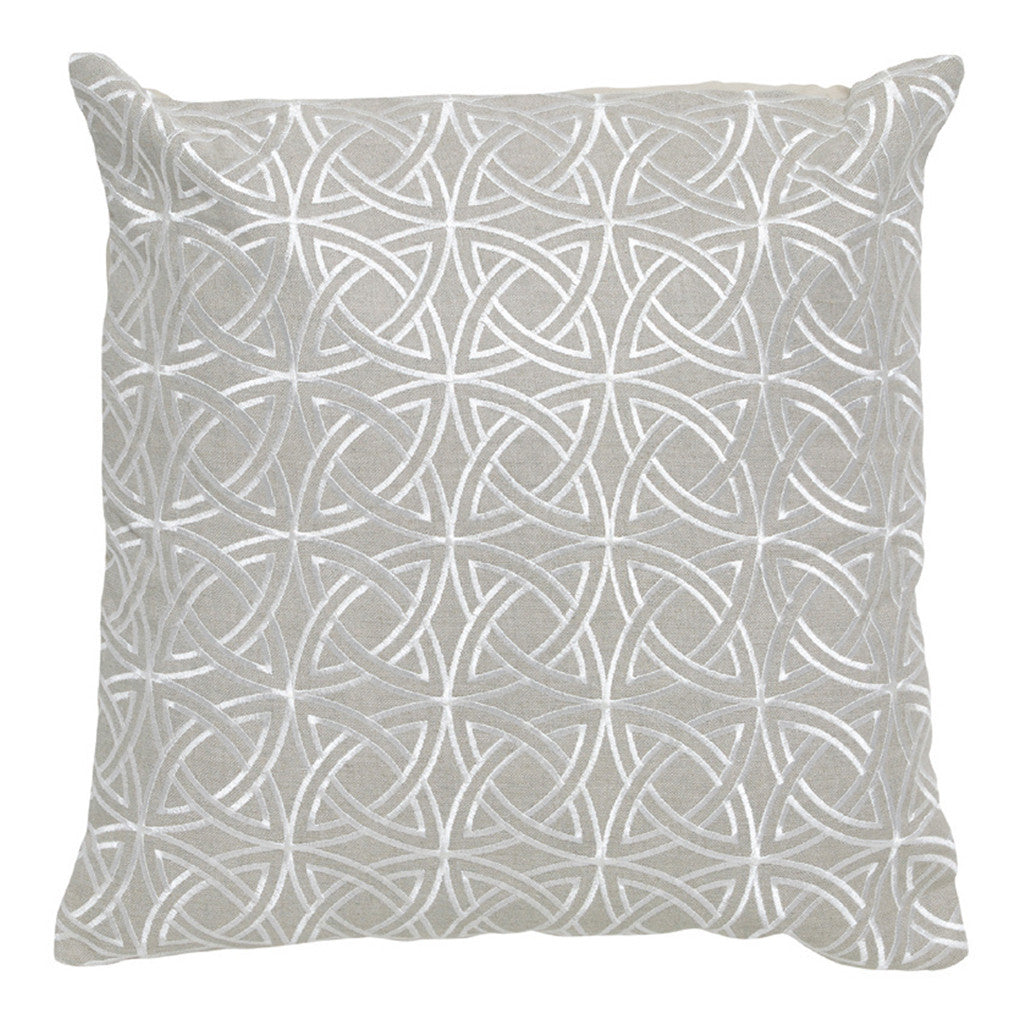 Imogen Silver Circle Stitch Linen Square Cushion, 45 cm - Cushion - The Bowery