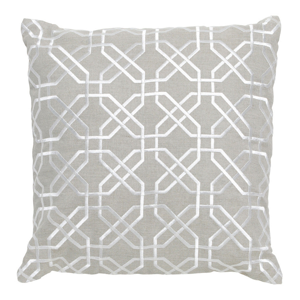 Imogen Silver Hexagon Stitch Linen Square Cushion, 50 cm - Cushion - The Bowery