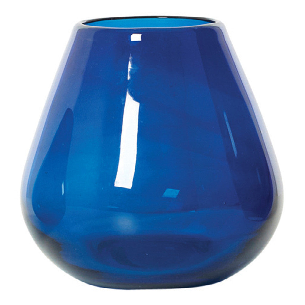 Kapri Blue Tear Drop Glass Vase, 15 cm - Vase - The Bowery