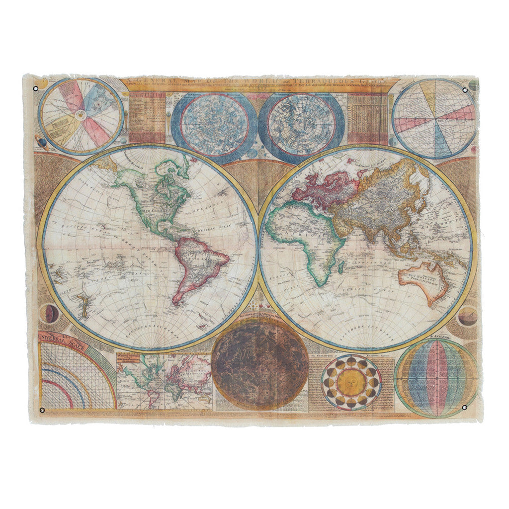Keane Canvas  Yellow Terraqueous  Map - Maps & Globes - The Bowery