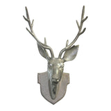 Brushed Silver Stag Head, 72 cm H x 41 cm W - Murals - The Bowery