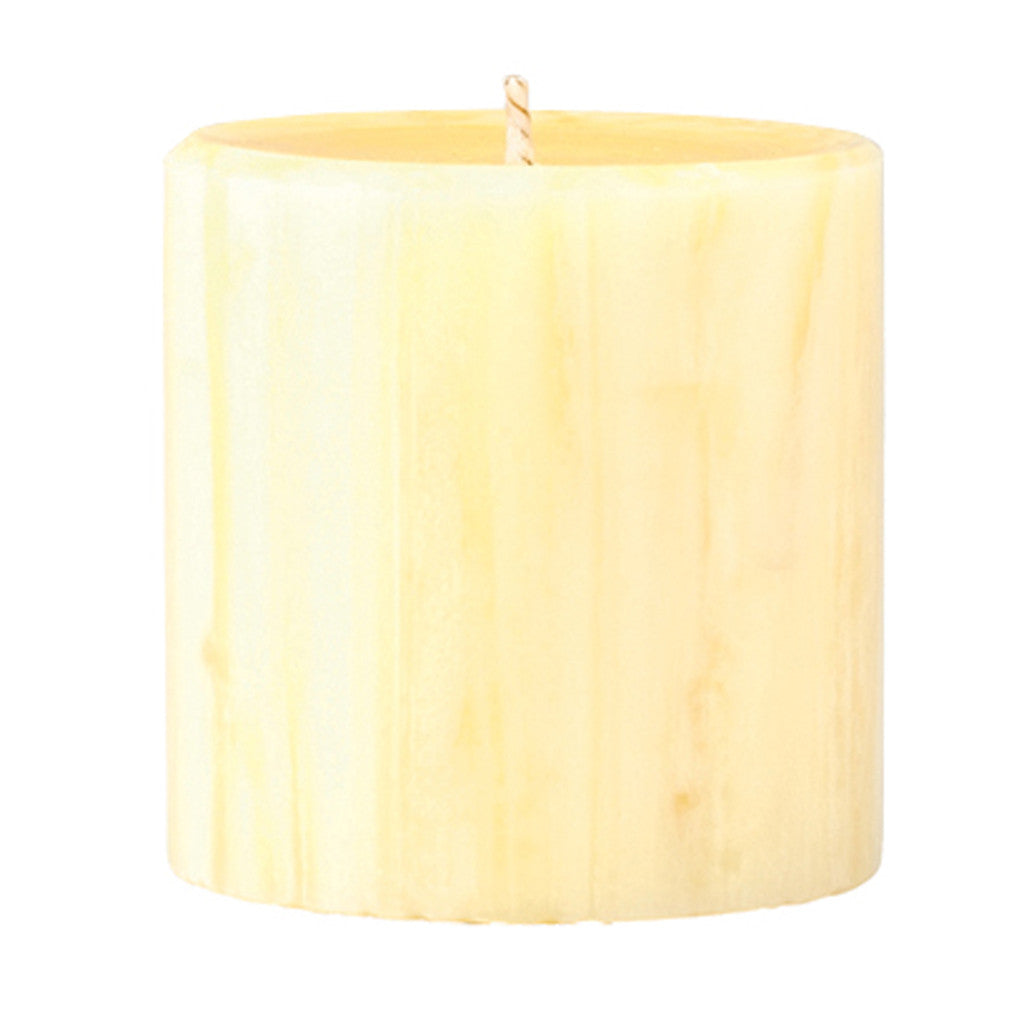 Marbled Pillar French Vanilla & Jasmine Tea Scented Candle, 7 x 7 cm - Wax Candles - The Bowery
