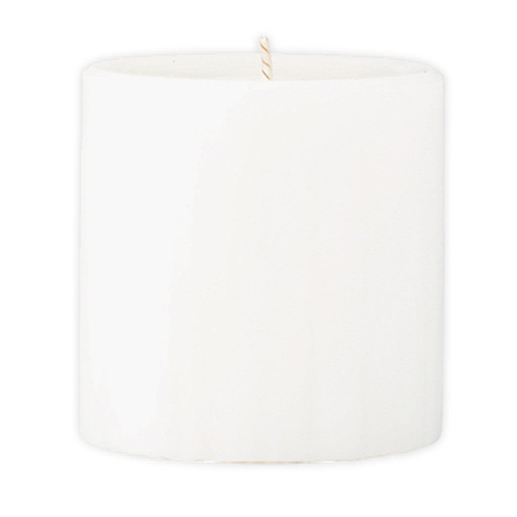 Marbled Pillar Fresh Cotton & Lavender Scented Candle, 7 x 7 cm - Wax Candles - The Bowery
