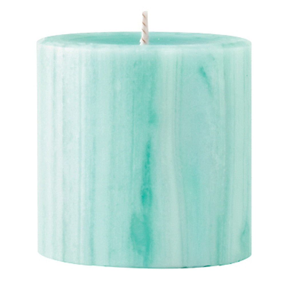 Marbled Pillar Gooseberry & Peach  Scented Candle, 7 x 7 cm - Wax Candles - The Bowery