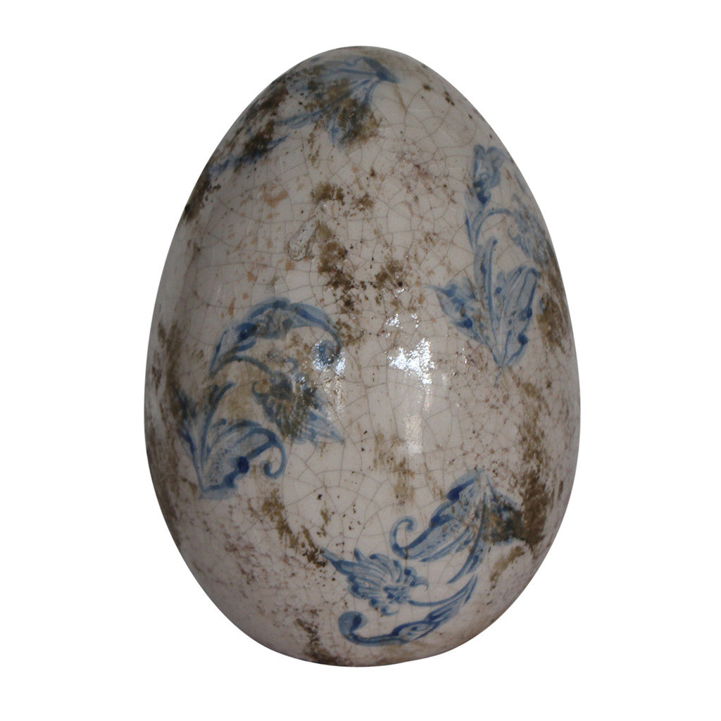 Ceramic Blue Floral Egg, Medium 18 cm H - Decor - The Bowery