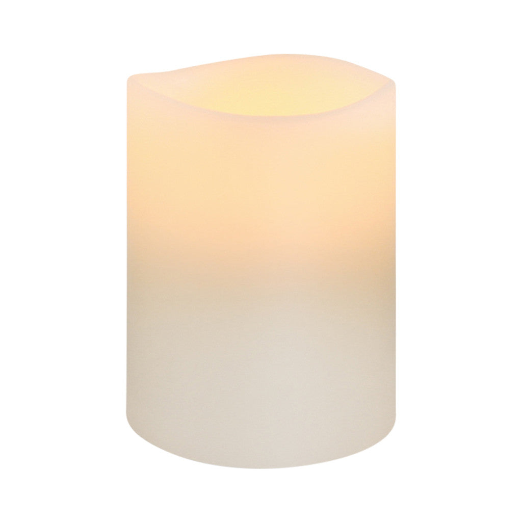 Nordic White Smooth Wax LED Flameless Candle, 8 x 10 cm - Flameless Candle - The Bowery - 1