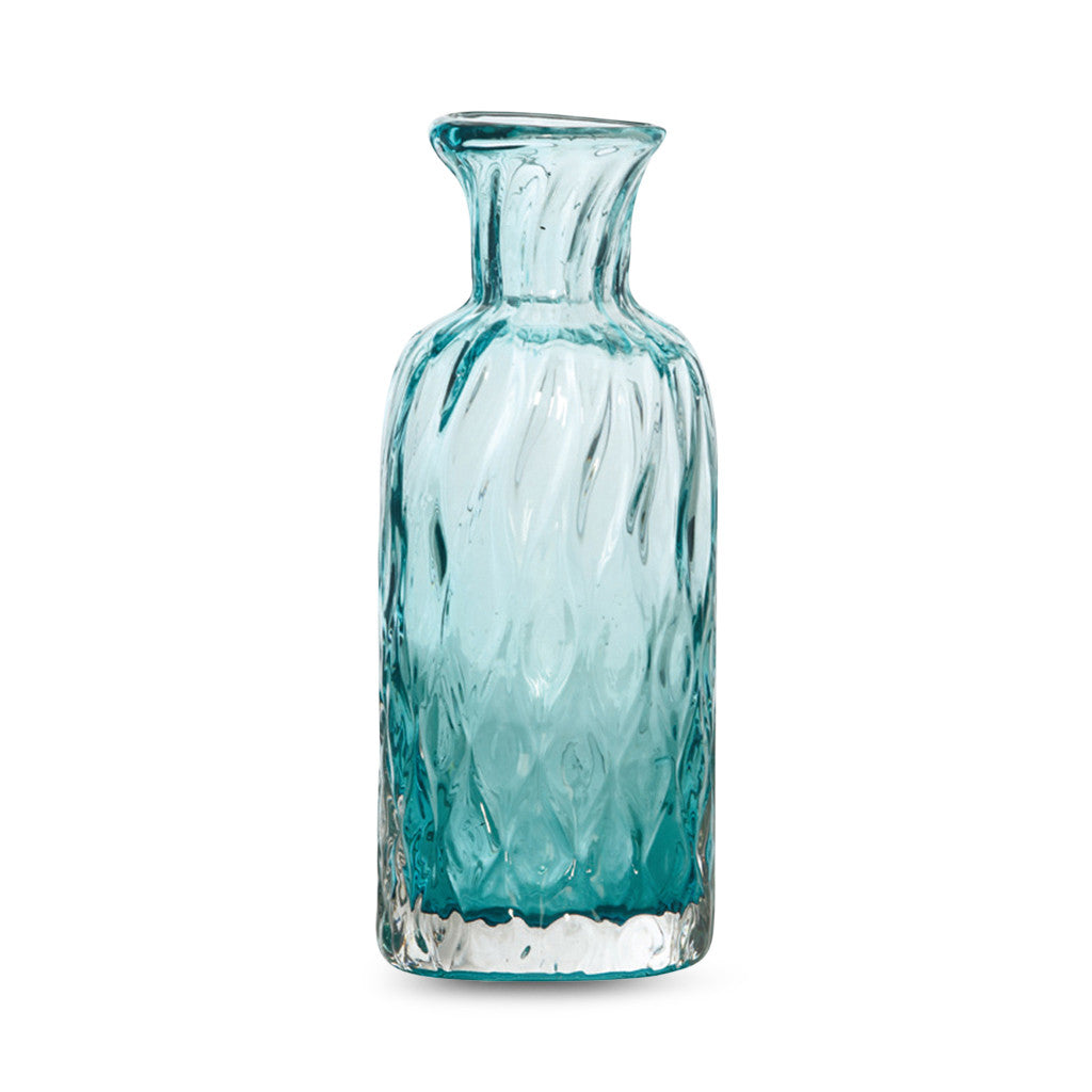 Dwyer Teal Glass Diamond Pattern, 25 cm - Vase - The Bowery