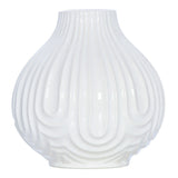 Ridge White Ceramic Teardrop Vase, 20 cm - Vase - The Bowery