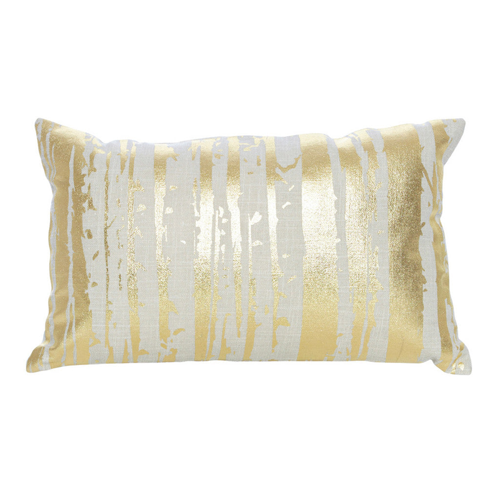 Serena Natural Gold Foil Rectangle Cushion, 50 cm - Cushion - The Bowery