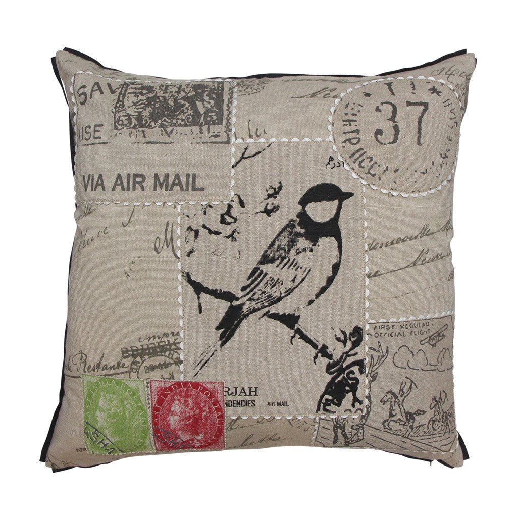 Stamp Natural Filled Cushion, 50 cm x 50 cm - Cushion - The Bowery